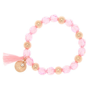 Rose Gold Beaded Stretch Bracelet - Pink,