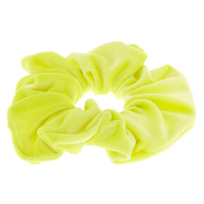 Velvet Hair Scrunchie - Neon Yellow,