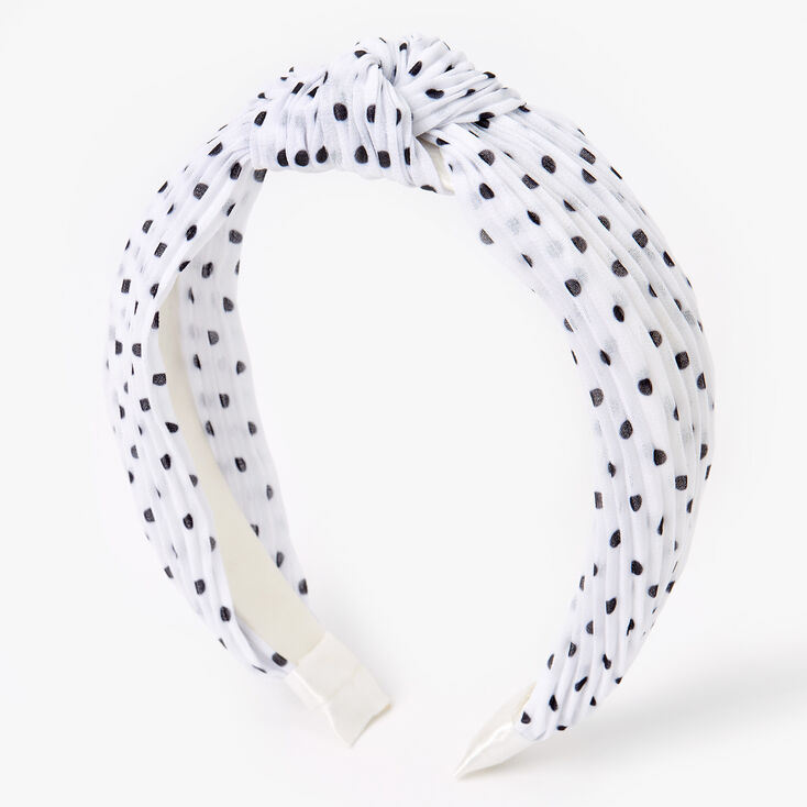 Polka Dot Pleated Knotted Headband - White,