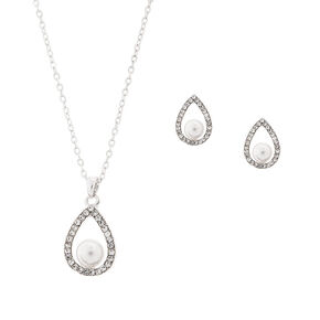 Rhinestone Teardrops with Pearls Pendant Necklace & Stud Earrings Set,