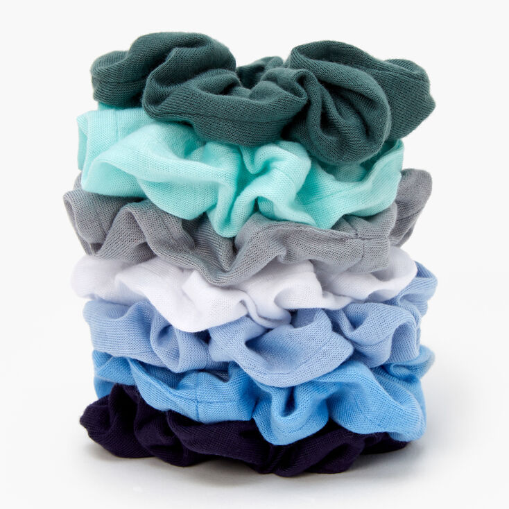 Blues & Greens Solid Hair Scrunchies - 7 Pack,