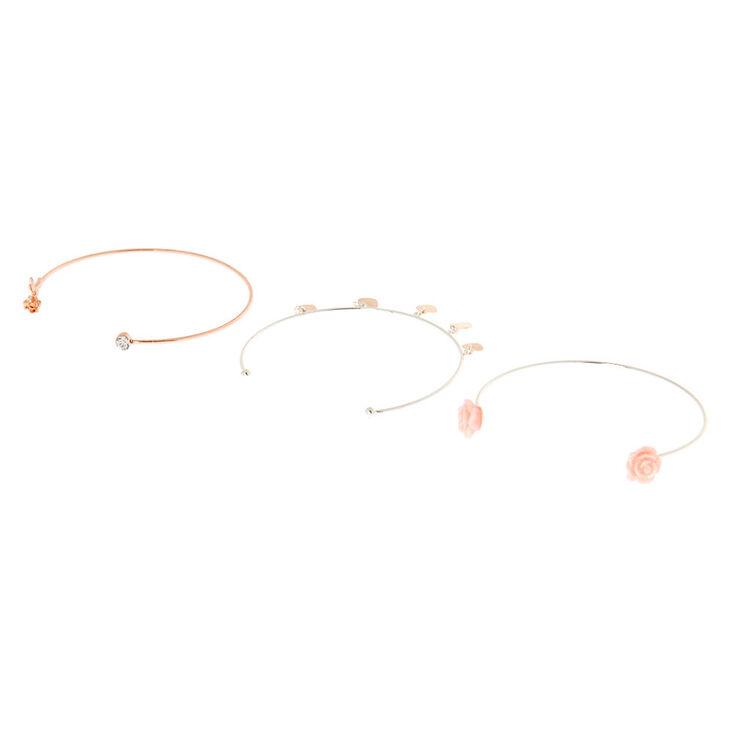 Rose Gold Floral Cuff Bracelets - 3 Pack,