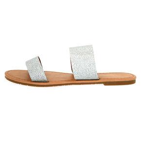 Glitter Double Strap Sandals - Silver,
