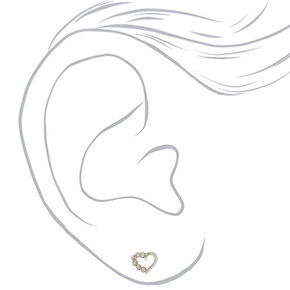 Sterling Silver Half Crystal Heart Stud Earrings,