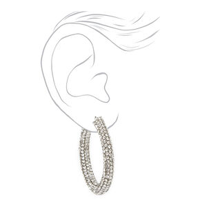 Silver 40MM Pave Embellished Hoop Earrings,