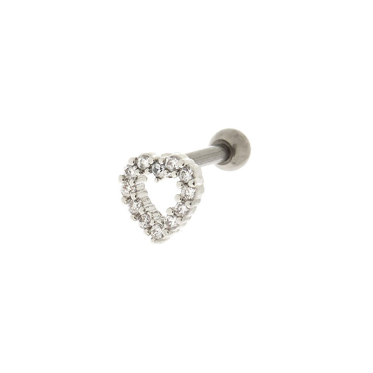 Titanium 14G Stone Heart Cartilage Stud Earring,