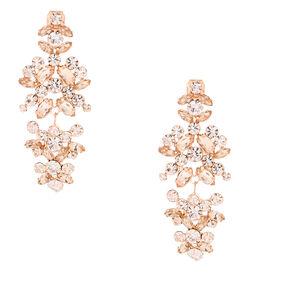 "Rose Gold 2"" Crystal Petal Clip On Drop Earrings,"