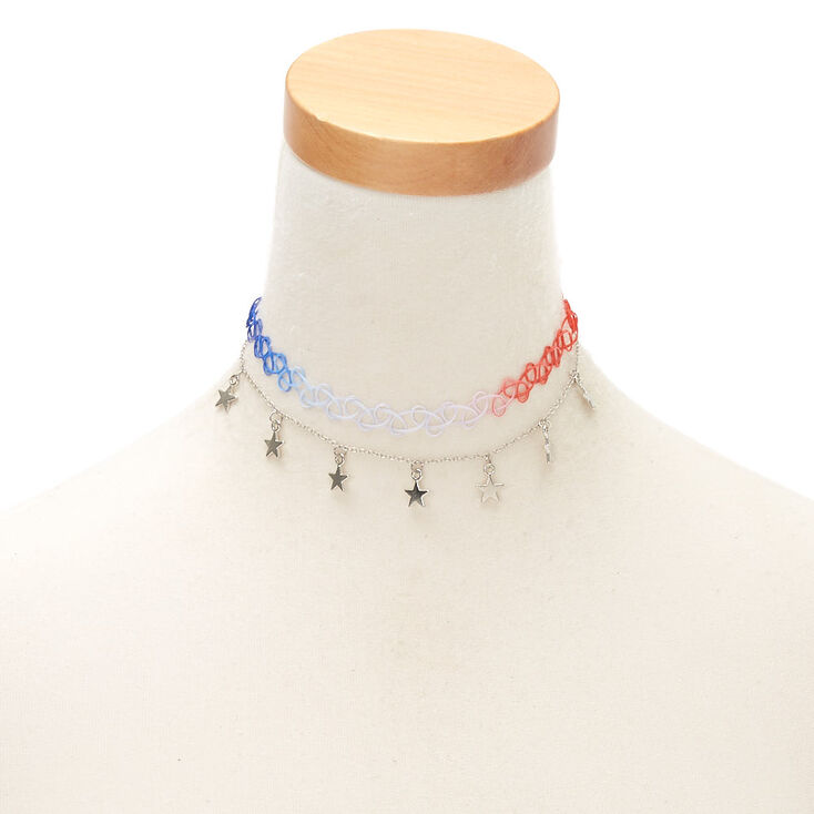 Silver USA Star Choker Necklaces - 2 Pack,
