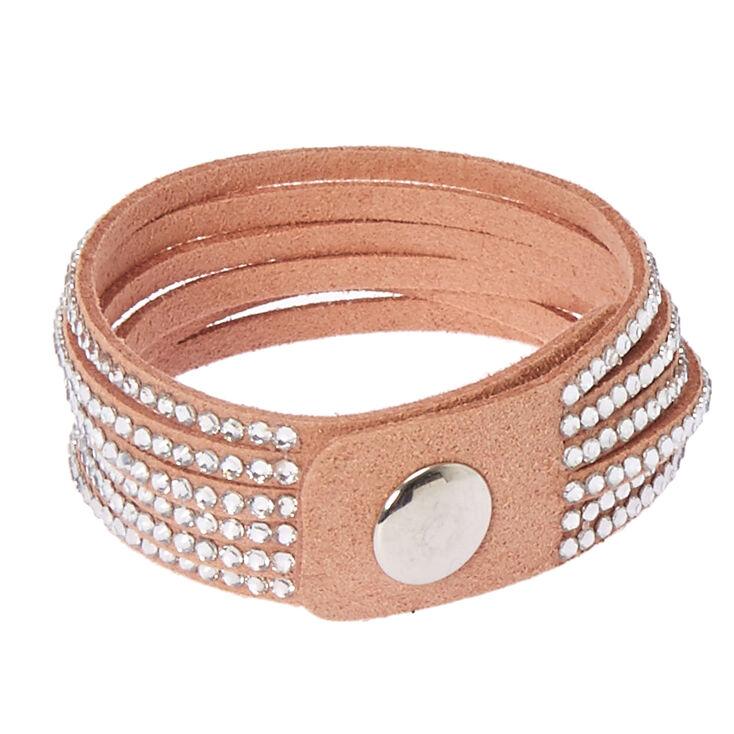 Studded Layered Wrap Bracelet - Pink,