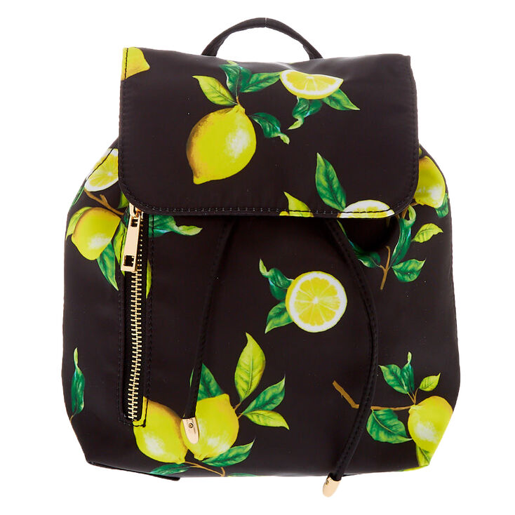 Lemon Drawstring Midi Backpack - Black,