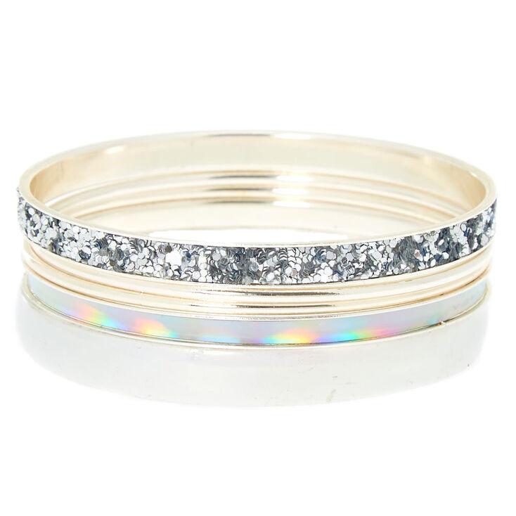Silver Holographic Bangle Bracelets - 5 Pack,
