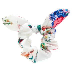 Rose Print Bow Hair Scrunchie - White,