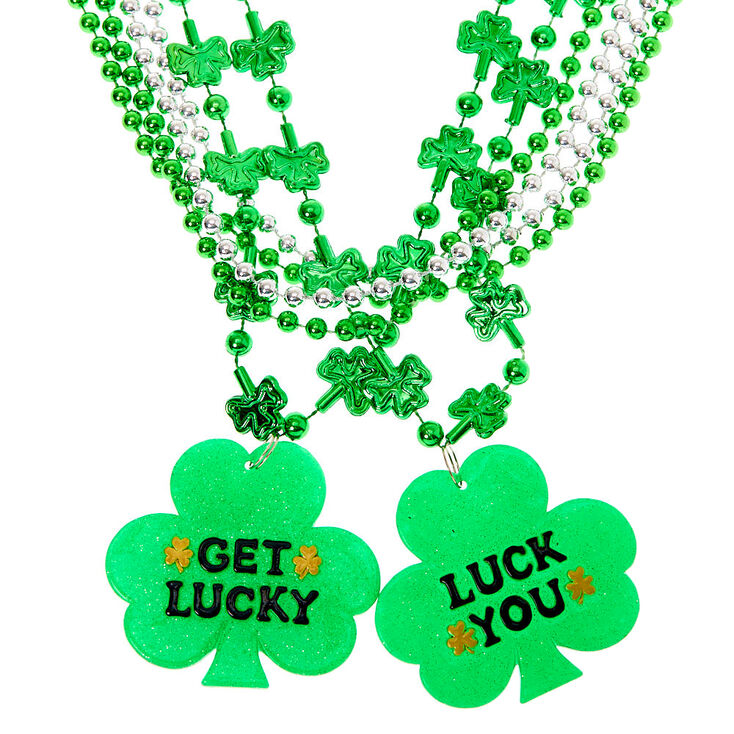 Shamrock Pendant Beaded Necklaces - 6 Pack,
