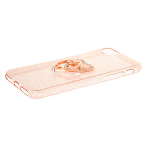 Rose Gold Heart Ring Stand Phone Case - Fits iPhone 6/7/8,