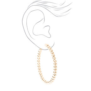 Gold 60MM Beaded Hoop Earrings,