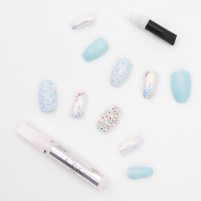 Luxe Glitter Gem Floral Coffin Faux Nail Set - Turquoise, 24 Pack,