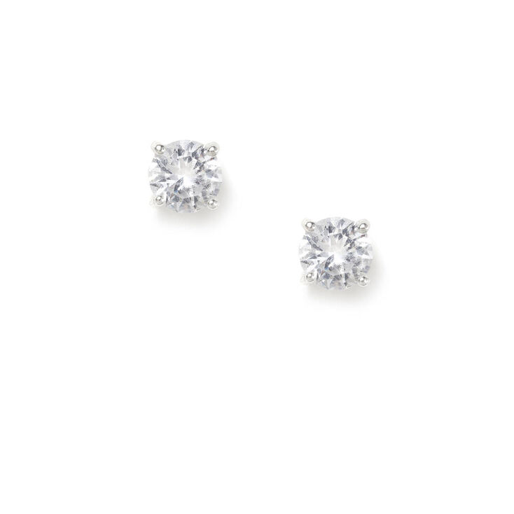 Sterling Silver 5MM Cubic Zirconia Round Stud Earrings,