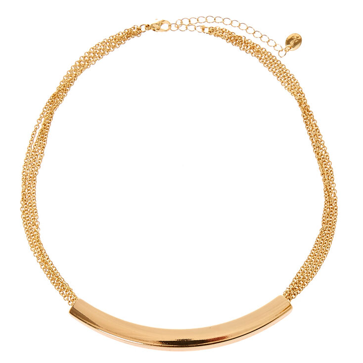 Gold-Tone Curved Bar & Chain Necklace,