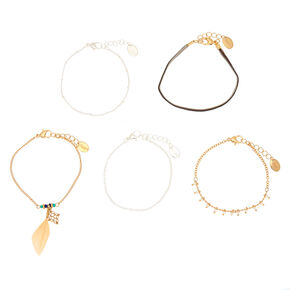Boho Feather Statement Bracelets - 5 Pack,