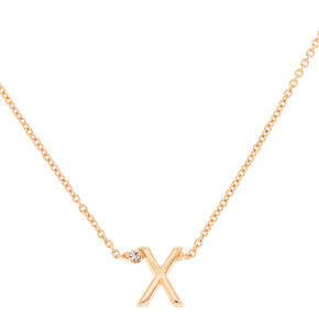 Gold Stone Initial Pendant Necklace - X,