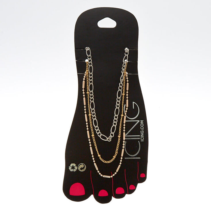 Mixed Metal Chain Anklets 3 Pack,