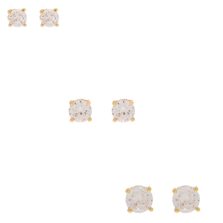 Gold Cubic Zirconia Round Stud Earrings - 4MM, 5MM, 6MM,