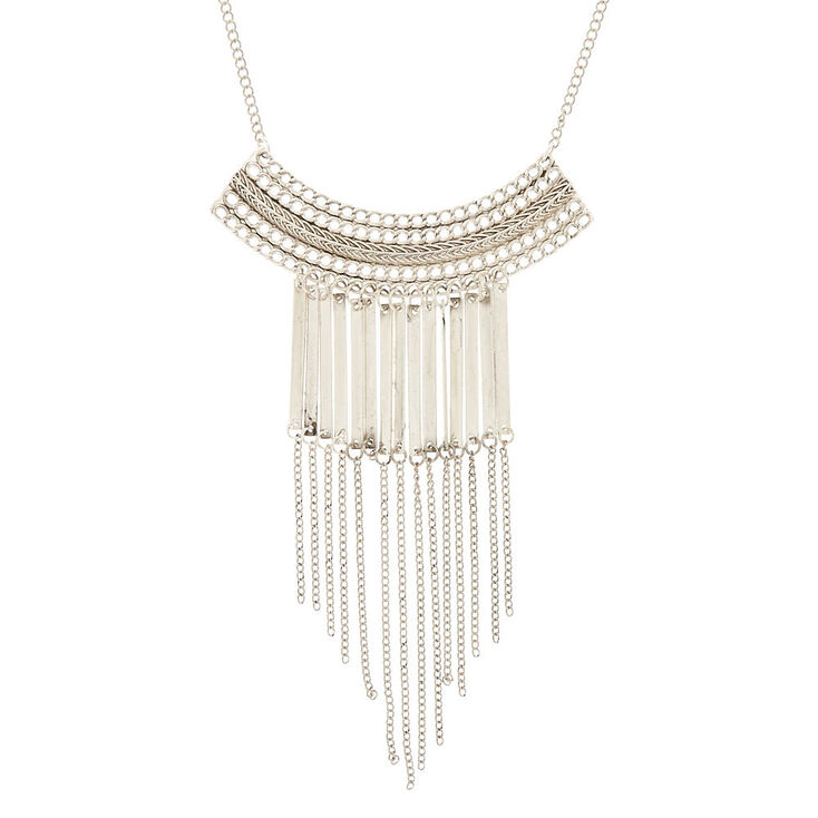 Metallic Fringe Bib Pendant Necklace