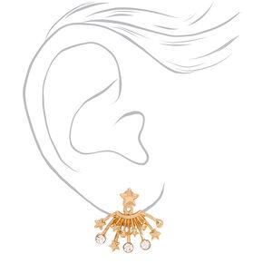 Gold Stars Ear Jacket Earrings,