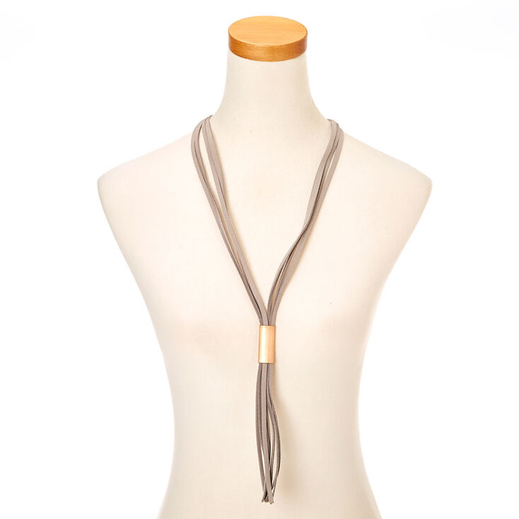 Gray Tassel tie Necklace,