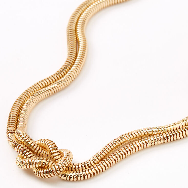 Gold Knotted Snake Chain Statement Necklace,
