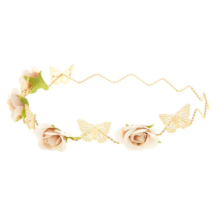 Gold Zig-Zag Butterfly Flower Crown Headwrap,