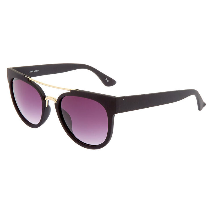 Gold Browline Round Mod Sunglasses - Black,