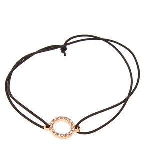 Rose Gold Pavé Crystal Elastic Bracelet ,