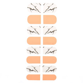 Marble Nail Stickers - White/Orange, 16 Pack,