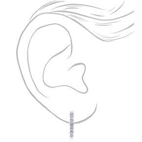 Sterling Silver Crystal Half Hoop Earrings - Blue,