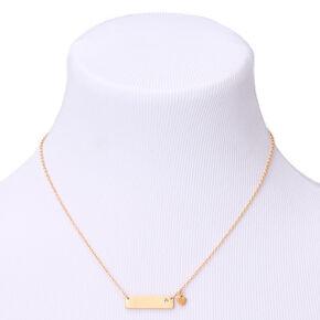 Gold April Birthstone Bar Pendant Necklace - Diamond,