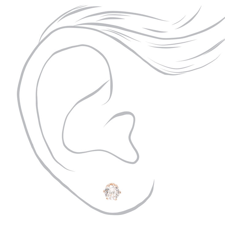 Rose Gold Cubic Zirconia Round Magnetic Stud Earrings - 5MM,