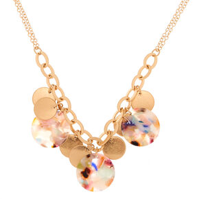 Gold Resin Painted Disk Statement Necklace,