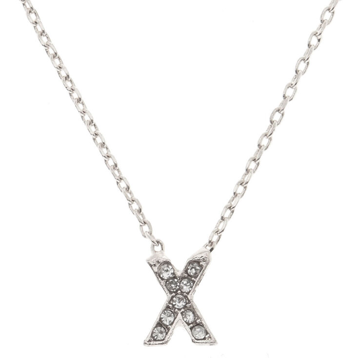 "Silver Studded ""X"" Initial Necklace,"