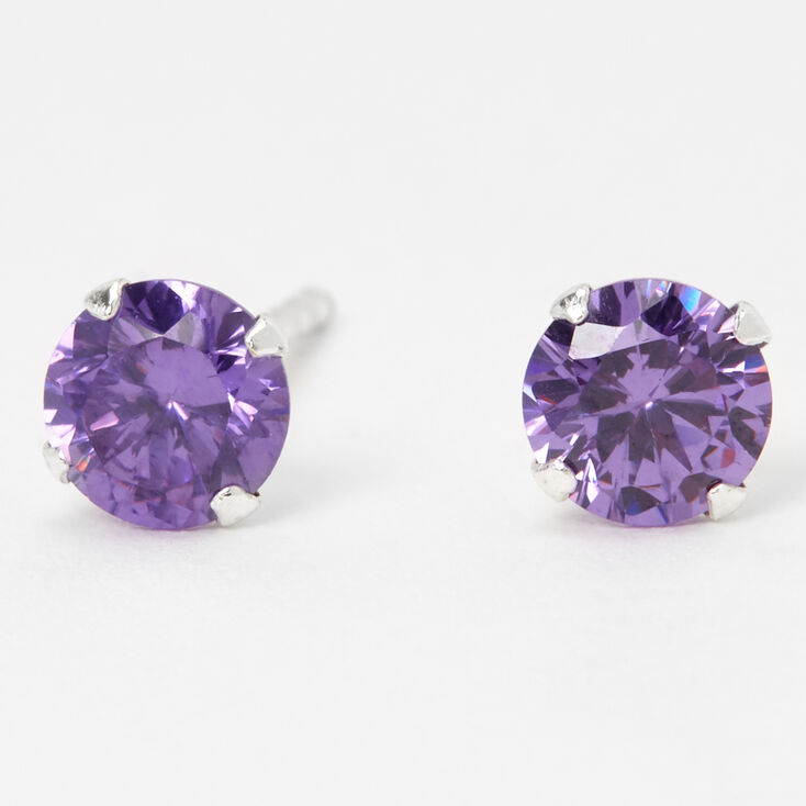 Sterling Silver Cubic Zirconia Round Stud Earrings - Purple, 5MM,