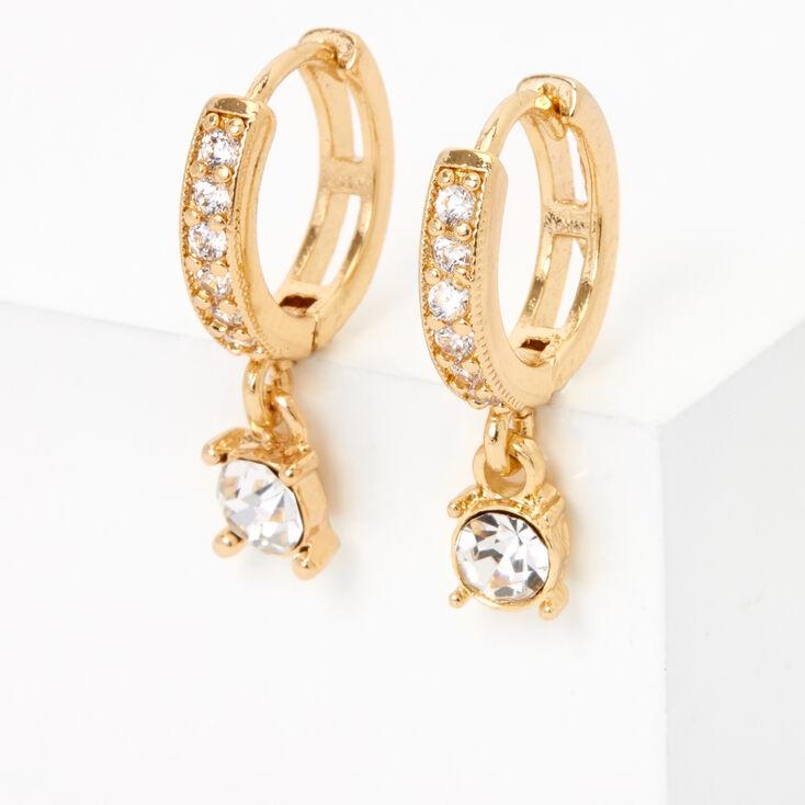 Gold 10MM Crystal Drop Huggie Hoop Earrings,