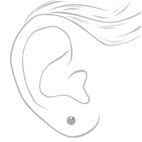Silver Pearl Stud Earrings - 3 Pack,