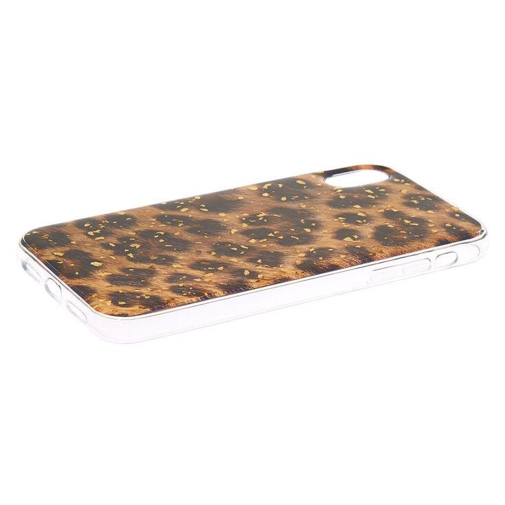Gold Foil Flake Leopard Phone Case - Fits iPhone XR,