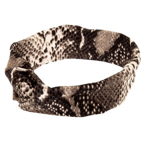 Snakeskin Twisted Headwrap - Gray,