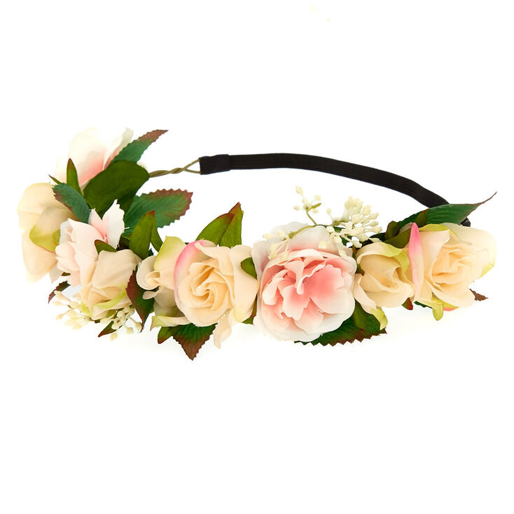 White Stretch Flower Crown,