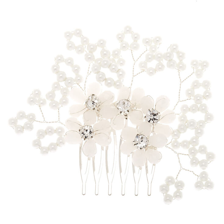 Pearl Flower Hair Comb - White,