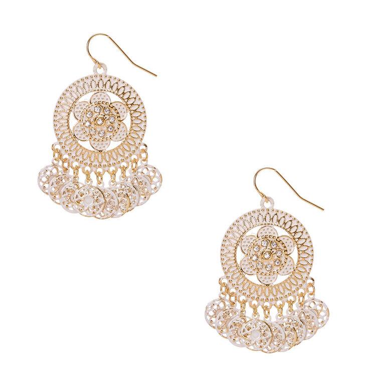 Gold Tone & Ivory Medallion Drop Earrings,