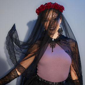 Halloween Flower Crown Blusher Headband - Black,