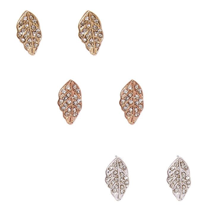 Mixed Metal Rhinestone Studded Leaf Stud Earrings,