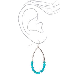 "Silver 2"" Beaded Drop Earrings - Turquoise,"